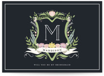 This is a blue will you be my bridesmaid card by Susan Moyal called Monogramed Bridesmaid with standard printing on signature in standard.