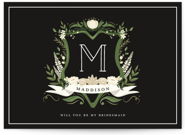 This is a beige, black, yellow Bridesmaid Cards by Susan Moyal called Monogramed Bridesmaid with Standard printing on Signature in Classic Fold Over (Message Inside) format. This bridesmaid request feature a floral monogram crest