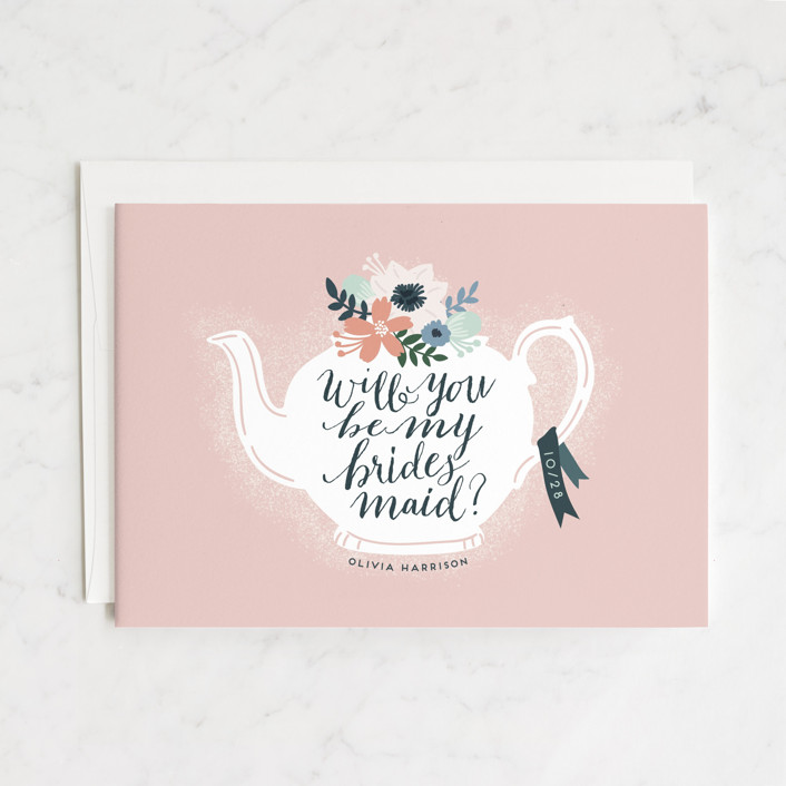 """Teapot Flower"" - Bridesmaid Cards in Rose by iamtanya."