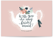 This is a pink will you be my bridesmaid card by iamtanya called Teapot Flower with standard printing on signature in standard.