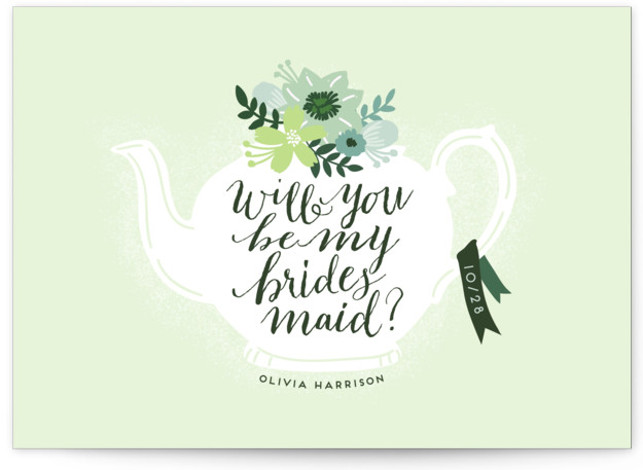 This is a green Bridesmaid Cards by iamtanya called Teapot Flower with Standard printing on Signature in Classic Fold Over (Message Inside) format. A sweet hand drawn teapot and flowers is perfect to ask your bridesmaids to be a part ...