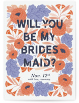 This is a orange will you be my bridesmaid card by Paper Raven Co. called Midnight Garden with standard printing on signature in standard.