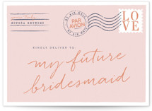 This is a pink will you be my bridesmaid card by Jennifer Lew called Par Avion with standard printing on signature in standard.