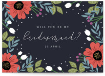 This is a blue will you be my bridesmaid card by Kampai Designs called Bridal Floral with standard printing on signature in standard.