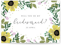 This is a yellow will you be my bridesmaid card by Kampai Designs called Bridal Floral with standard printing on signature in standard.
