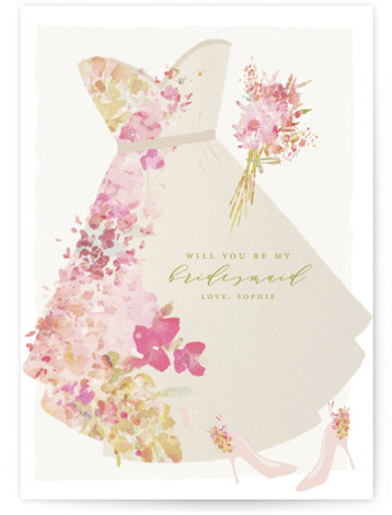 This is a yellow Bridesmaid Cards by Grace Kreinbrink called Floral Dress with Standard printing on Signature in Classic Fold Over (Message Inside) format. Hand painted watercolor florals accent sweet vintage dress illustration.