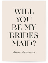 This is a pink will you be my bridesmaid card by Angela Thompson called Simple Chic with standard printing on signature in standard.