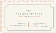 This is a orange business card by chocomocacino called Mina Beleza printing on signature.