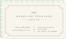 This is a green business card by chocomocacino called Mina Beleza printing on signature.
