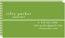 This is a green business card by Bourne Paper Co. called Striped Divide printing on signature.