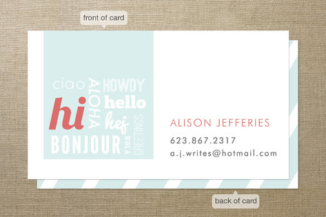 Hello Hello Hello Business Cards