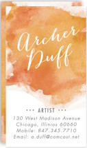 This is a orange business card by Erin Deegan called Watercolor Splash printing on signature.