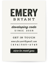 This is a white business card by Hooray Creative called Get In Touch printing on signature.