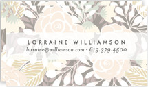 This is a grey business card by Phrosne Ras called Abundance printing on signature.