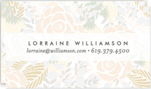 This is a beige business card by Phrosne Ras called Abundance printing on signature.