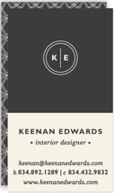 This is a black business card by Olivia Raufman called Circle Circle Dot printing on signature.