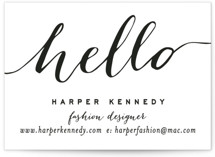 This is a white business card by Hooray Creative called Chic Black and Gold printing on signature.