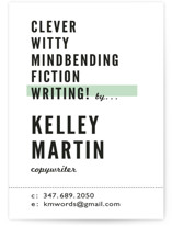 This is a green business card by A Real Peach Studio called Headliner printing on signature.