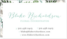 This is a green business card by Lehan Veenker called Painted Florist printing on signature.