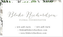 This is a grey business card by Lehan Veenker called Painted Florist printing on signature.