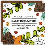 This is a white business card by Clair Landers called Foliage Scape printing on signature.