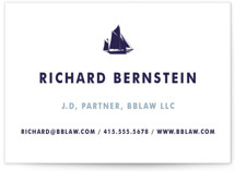 This is a white business card by June Letters Studio called Captain printing on signature.