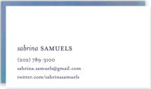 This is a blue business card by nocciola design called Impressionist printing on signature.