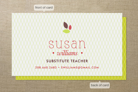 apple for the teacher business cards - Teacher Business Cards