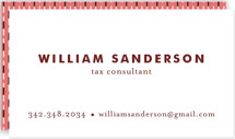 This is a red business card by Alethea and Ruth called Bold and Basic printing on signature.