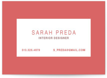 This is a red business card by Carrie ONeal called Bold Border printing on signature.