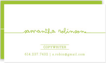 This is a green business card by Carrie ONeal called Drop Me A Line printing on signature.