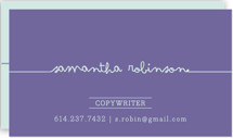 This is a purple business card by Carrie ONeal called Drop Me A Line printing on signature.