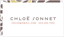 This is a red business card by Jody Wody called Swish printing on signature.