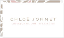 This is a pink business card by Jody Wody called Swish printing on signature.