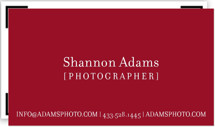 This is a red business card by Kristin Royer called Viewfinder printing on signature.