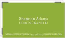 This is a green business card by Kristin Royer called Viewfinder printing on signature.