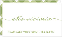 This is a green business card by Waui Design called Beautifully Penned printing on signature.