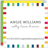 This is a green business card by SimpleTe Design called Colorful Playtime printing on signature.