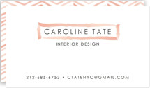 This is a red business card by Laura Condouris called Herringbone Stroke printing on signature.