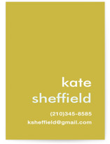 This is a green business card by Laura Hankins called Mustard Stripe printing on signature.
