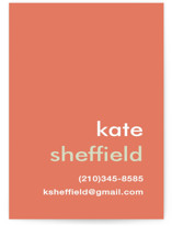 This is a red business card by Laura Hankins called Mustard Stripe printing on signature.
