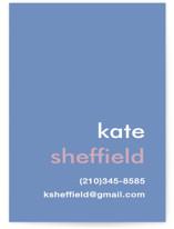 This is a blue business card by Laura Hankins called Mustard Stripe printing on signature.