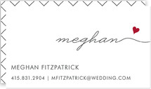 This is a red business card by Kim Dietrich Elam called Love Connection printing on signature.