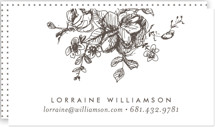 This is a brown business card by Phrosne Ras called Gold Sketched printing on signature.