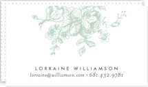 This is a blue business card by Phrosne Ras called Gold Sketched printing on signature.