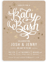 This is a brown foil stamped baby shower invitation by Makewells called It's a Baby Bash with foil-pressed printing on signature in standard.
