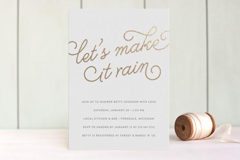 Let's Make it Rain Foil-Pressed Baby Shower Invitations