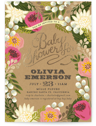 Floral Canopy Foil-Pressed Baby Shower Invitations