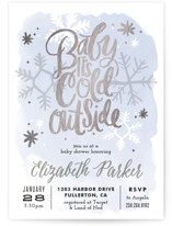 This is a blue foil stamped baby shower invitation by Alethea and Ruth called Baby It's Cold Outside with foil-pressed printing on signature in standard.