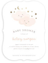 This is a gold foil stamped baby shower invitation by Angela Garrick called twinkling with foil-pressed printing on signature in standard.